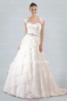 Engrossing Sweetheart A-line Bridal Gown Holding Beaded Sash and Tiered Ruffles