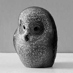 safari baby owl clear glass sculpture by mats jonasson