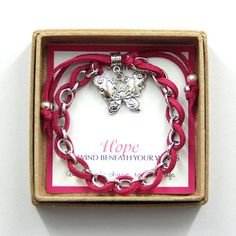 Hope Butterfly Bracelet -Hope Pink Bracelet, Charm Bracelet, Inspirational Bracelet, Gift for Girls, Advocacy Awareness, Breast Cancer Pink