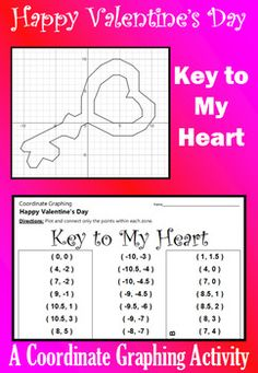 Celebrate Valentine's Day with this festive coordinate graphing activity. Students are given a list of coordinate points to connect.  They should connect the points only within the designated zones. When they are done, they will have a picture of a heart-shaped key.Don't forget to download a copy of my custom-made FREE GRAPH PAPER.Here are some tips: [1] All points will be on one grid line or another. [2] A completed picture has been provided to be used as a key.  [3] You can download my…