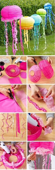 DIY Jelly Fish for the Mermaid Theme Birthday Party! Looks pretty awesome!
