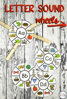 Letter sound wheels! These 20 engaging alphabet centers teach kids critical skills including letter names, letter sounds, ABC sequencing, letter formation and uppercase-lowercase pairing.They're great to use as literacy centers, morning work or small group activities. There are so many possibilities! **Affiliate Link