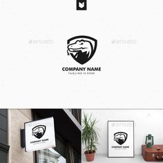 Komodo Dragon Shield Security Sport Logo - Animals Logo Templates