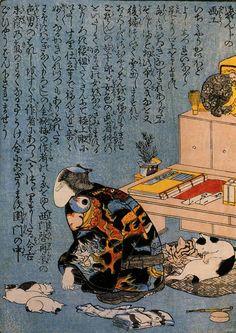 歌川国芳 自画像(幕末の浮世絵師・歌川国芳の画) 顔を隠しているが傍にたくさんの猫がはべっているので本人と知れる。国芳の工房にはつねに猫がたくさんいたそうで、本人も猫好きらしい穏やかな性格かと思いきや、着ているどてらの柄は地獄変相図。この地獄絵は本人の大のお気に入りだったそうです。