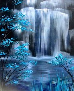 Beautiful landscape painting of a waterfall lake and some flowing bushes. I love the way that the artist made the waterfall look realistic. Easy Paintings, Landscape Paintings, Acrylic Paintings, Abstract Landscape, Landscape Edging, Painting Abstract, Blue Painting, Diy Painting, Watercolor Paintings