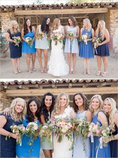 different shades of blue bridesmaid dresses - Google Search