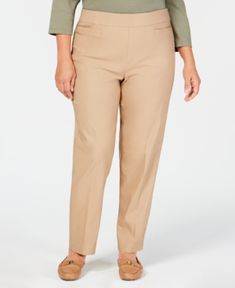 8aa04928f5ec1 Alfred Dunner Plus Size Tummy Control Pull-On Pants - Tan Beige 24WS Alfred