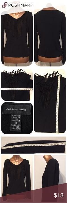 """Long black Fringe outline v be happy SEXY Cable & Guage Black Long Sleeve V Neck With Long Fringe Sz/Small Motorcycle Biker Sweater Lightweight Sexy pit to pit 16.5"""" length 21.5"""" sleeve 24"""" B-13 #7034PE Cable & Gauge Tops Sweatshirts & Hoodies"""