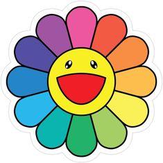 'Takashi Murakami Happy Flower' Sticker by edvinp – Bastelarbeiten – cartoon Stickers Cool, Tumblr Stickers, Printable Stickers, Kawaii Stickers, Murakami Flower, Arte Indie, Cartoon Flowers, Happy Flowers, Draw Flowers