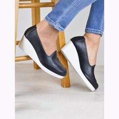 Slip on sneakers outfit – Lady Dress Designs Shoes Heels Wedges, Wedge Sneakers, Wedge Heels, Leather Wedges, Leather Heels, Sneakers Fashion, Fashion Shoes, Comfortable Sandals, Womens Clothing Stores