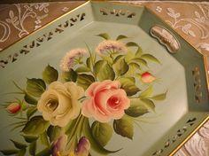 Vintage Tole Serving Tray Handpainted Pilgrim Art by TalesofTime