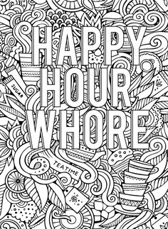 Swear Word Adult Coloring Book For Pages Happy Hour Whore