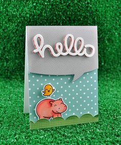 Lawn Fawn - Year Four stamps and coordinating Lawn Cuts dies, Lawn Fawndamentals Notecard in Mermaid, Stitched Scalloped Border die, Hello Sunshine 6x6 paper, Peace Joy Love 6x6 paper, Scripty Hello and Speech Bubble Lawn Cuts dies _  by Kelly- Lawn Fawn Design Team, via Flickr