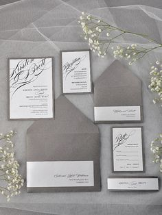 Simple Calligraphy Invitation Grey Wedding by 4LOVEPolkaDots