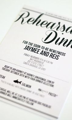 rehearsal dinner invite with tear off RSVP