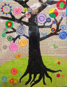 great! Neat art project! black tree on newspaper with target leaves
