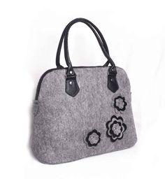 67d04f3ab2f0 Felted grey purse Felt tote Felt floral handbag Felted flower purse Woman s  felt purse Lady bag