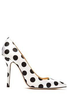 Shop Mimi Satin Polka-Dot Pumps by Oscar de la Renta Now Available on Moda Operandi