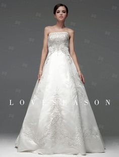 Demure Ball Gown Bateau Neck Floor-length Satin Wedding Dresses, up to 50% off, now $237.26
