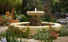 Large Garden Fountain Mediterranean Landscaping Molly Wood Garden Design Costa Mesa, CA