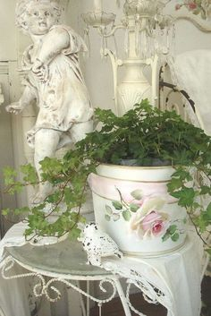 Shabby Chic Painted Planter Pot. #ShabbyCottage