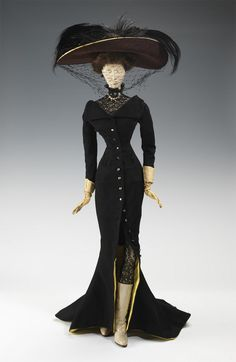 "1906 Doll, Fashion (Evening Ensemble) ~ MADE IN 1949. An incredible story of philanthropy & encouragement: inspired by US relief, France created ""Grattitude Train""/""Merci Train"" -- 49 boxcars were sent to each state of the U.S. ... based on the french fashion dolls of de la outure de Mode,1947 collection. ~ fashion designers inspired US design with the beauty of past fashion: 1715-1906. (Made with loving detail; ...down to the real human hair of the doll & all. ; )<3"