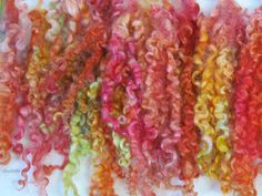 hand dyed/painted Wensleydale Curly Locks.