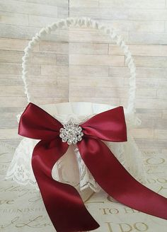 Maroon burgandy ivory lace vintage wedding by Exquisitefindsbycj