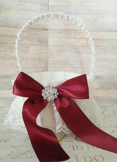 Maroon burgandy ivory lace vintage wedding by Exquisitefindsbycj