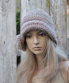 Crochet hat Womens trendy hat shadows beige Rose by Degra2