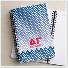 Shining Chevron: Delta Gamma - Greek Notebooks in Cobalt Blue. #greeklife