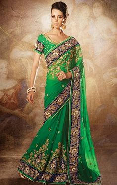 Picture of Gorgeous Green Traditional Wedding Saree