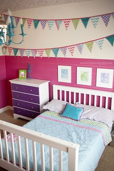 Super CUTE girls bedroom makeover from Kristen Duke Photography  colors, wall, dresser