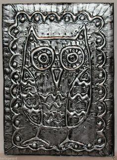 "Owl 5 x 7"" FOLK ART ABSTRACT Prim Foil Relief ART PIECE ORIGINAL Karla Gerard..new foil art piece now available for sale..."