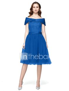Tea-length Satin / Tulle Bridesmaid Dress - A-line Off-the-shoulder with Lace 2017 - €78.39