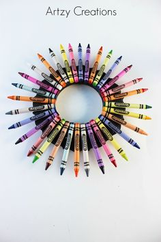 DIY Teacher Crayon Wreath from MichaelsMakers Artzy Creations
