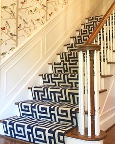 Gray Walker (@graywalkerinteriors) • #interiordesign #homedecor #charlotte #interiors #staircase #steps #runner #wallpaper