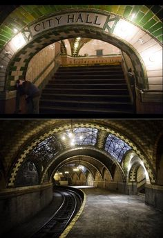 Photos from inside the abandoned City Hall NYC subway stop, closed since Simply gorgeous, i would love to see it in person. Just imagine what it was like when it was open Abandoned Cities, Abandoned Mansions, Abandoned Houses, City Hall Nyc, A New York Minute, Nyc Subway, City That Never Sleeps, Old City, Old Buildings