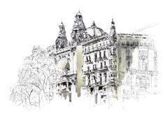 El teatro Coliseum de Barcelona desde la Rambla Catalunya. Barcelonink, Dibujo a tinta china.