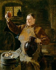 """During the Middle Ages nearly every abbey brewed beer for the faithful flock within the walls. Beer was critical to good diet. But soon, the church weaseled into the business of beer, selling to the unwashed masses outside. As a logo the abbeys used each other's patron saint to create brand recognition, even if that particular saint never touched a drop."" (Alan Eames) Art: Eduard Grützner - Master brewer at the snack in the cloister cellar"