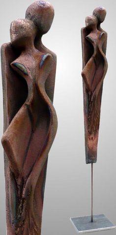 Edeltrude Arleitner, ceramic unique (raku, copper matt), h/total = ca. Pottery Sculpture, Sculpture Clay, Abstract Sculpture, Metal Art, Wood Art, Sculptures Céramiques, Contemporary Abstract Art, Clay Art, Ceramic Art