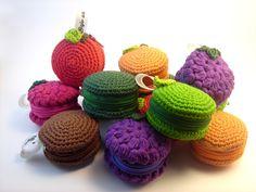Monederos frutales, tejidos con algodón Natura de DMC Bajo una seta #macaron…