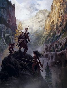 Adventurers at the mouth of a cavern complex