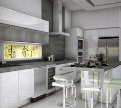 De acuerdo a las tendencias, esta cocina ha sido diseñada con Gabinetes Al Alto brillo en Blanco, y toques de cristal Satinado. Con una encimera y Splash de cuarzo en color Gris.