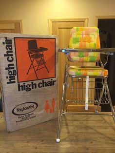 Vintage Retro Taylor Tot HIGH CHAIR Colorful Seat Chrome Legs SS in Original BOX #TaylorTot Vintage High Chairs, Retro Vintage, Baby Equipment, Play Yard, Playpen, Toddler Preschool, Baby Items, Car Seats, Ss
