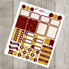 Gryffindor Inspired Red and Gold Weekly Kit | Themed Planner Kit | Erin Condren Life Planner, PPP, Filofax, Scrapbooking, Calendars
