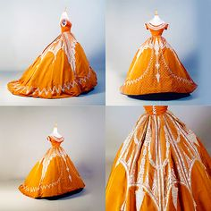 Beautiful ball gown from 1864-66, made by Charles Frederick Worth. Orange silk with raised patterns in white silk.