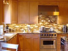 backsplash ideas for cherry cabinets | kitchen | pinterest