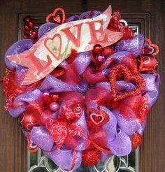 Deco Mesh VALENTINES LOVE WREATH. $125.00, via Etsy.