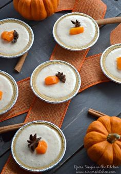 Mini Spiced Persimmon Yogurt Pies - A seasonal recipe using Hachiya persimmons and The Greek Gods Greek Honey Yogurt. It is a fresh tasting recipe, a perfect ending to a heavy Thanksgiving feast. Thank you @NoelleKelly